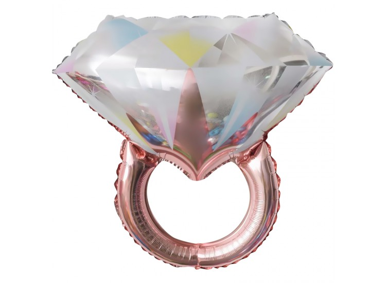 (27-69 см Кольцо с бриллиантом )Розовое Золото