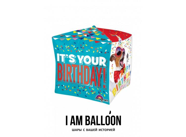 шар 38 x 48 см Куб, День Рождения Домашние питомцы