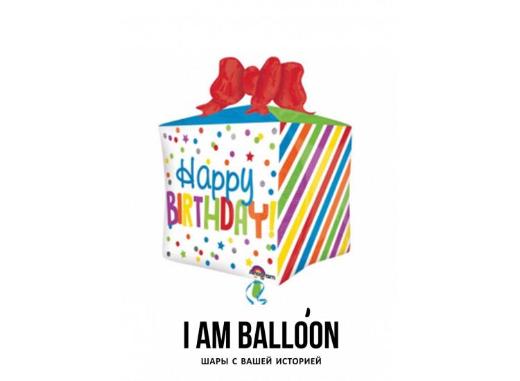 шар 40 x 53 см Куб, День рождения Подарок