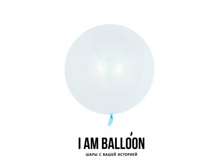 Шар (18-46 см) Сфера 3D, Deco Bubble, Голубой, Кристалл