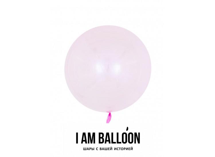 Шар (18-46 см) Сфера 3D, Deco Bubble, Розовый, Кристалл